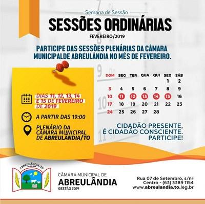 Sessões de Fevereiro-2019