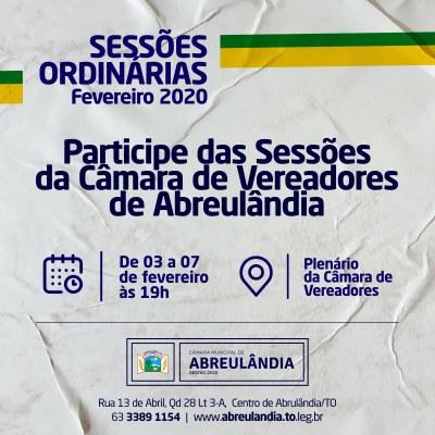 Sessões de Fevereiro-2020